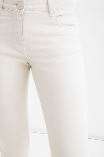 Stretch cotton trousers with zip, Ice White, hi-res