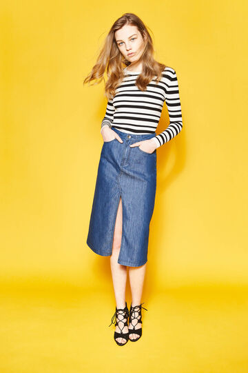 Denim longuette skirt with split