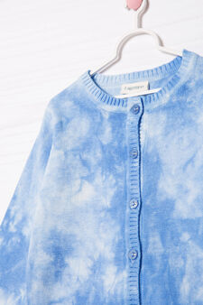 100% cotton faded cardigan, Light Blue, hi-res