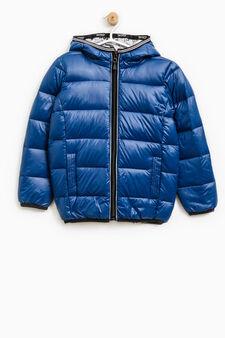 Real down jacket with hood, Royal Blue, hi-res