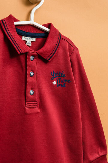 100% cotton polo shirt with printed lettering, Red, hi-res
