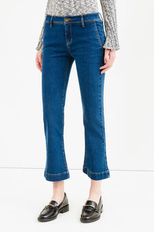Solid colour ankle flare-fit stretch jeans, Medium Wash, hi-res
