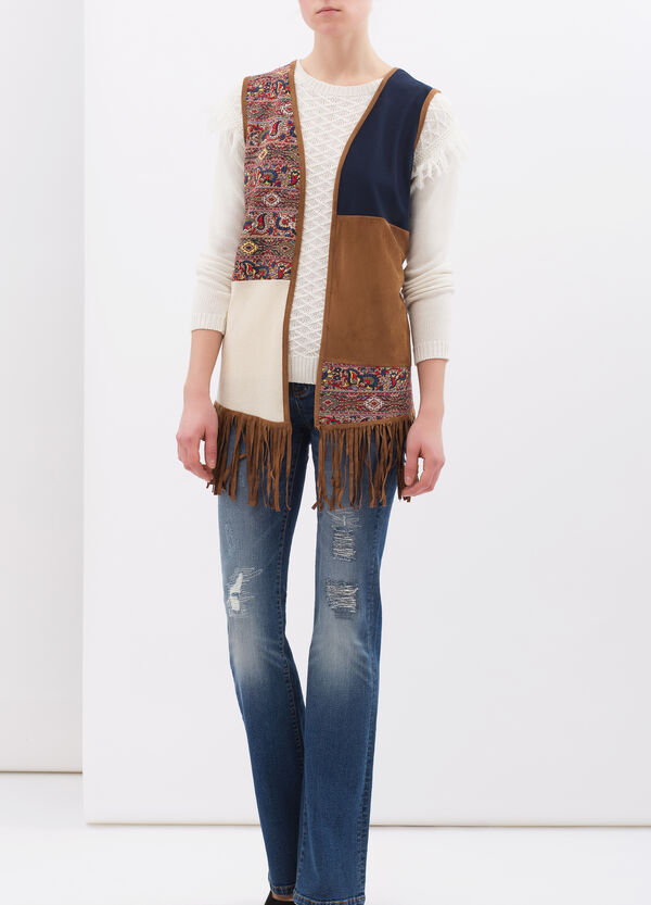 Suede look waistcoat with fringe   OVS