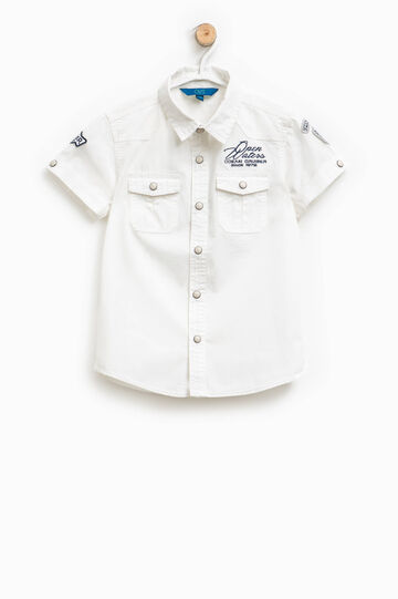 Shirt with patch and embroidery