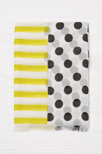 Patterned scarf, Black/Yellow, hi-res