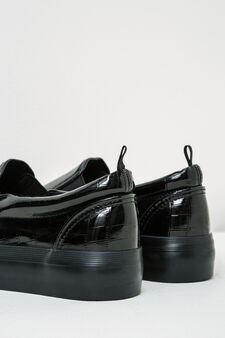 High shiny slip-ons with crocodile print, Black, hi-res