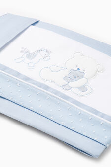 Cotton sheet with animals patch, Light Blue, hi-res