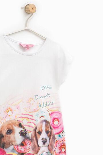 Camiseta en color liso con estampado con strass, Blanco óptico, hi-res