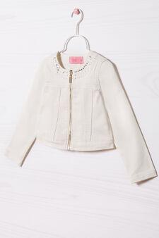 Mixed stretch cotton jacket, Milky White, hi-res