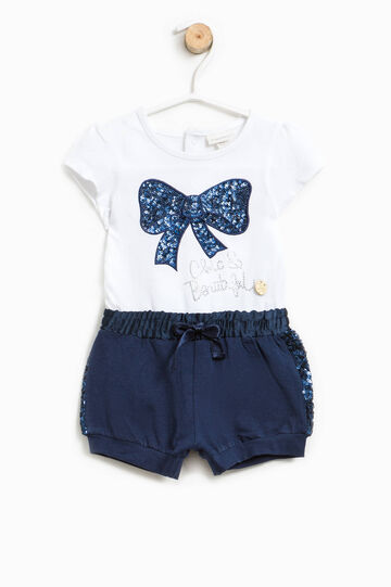 Two-tone romper suit with sequins