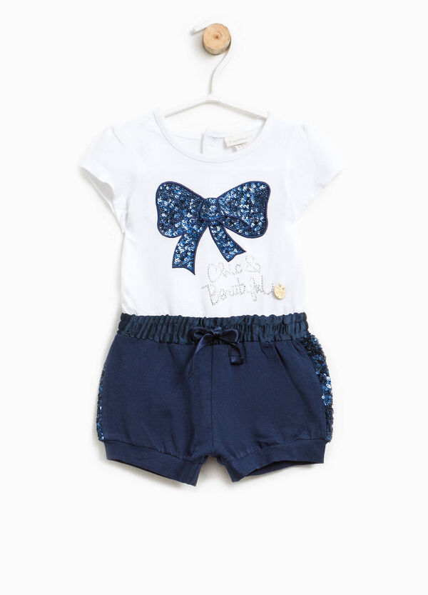 Two-tone romper suit with sequins | OVS
