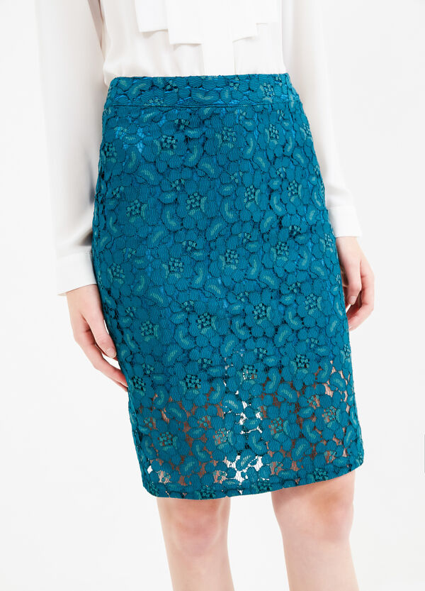 Pencil skirt in solid coloured lace | OVS