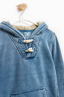 Hoodie with toggles and pouch pocket, Indigo Blue, hi-res
