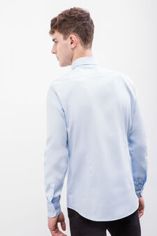 Slim fit formal shirt in 100% cotton, Soft Blue, hi-res