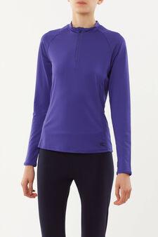 T-shirt sportiva maniche lunghe, Viola, hi-res