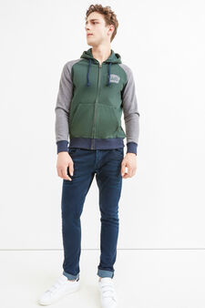 Cotton hoodie with patch, Green, hi-res