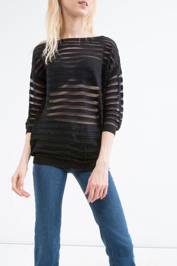 Striped cotton blend pullover, Black, hi-res