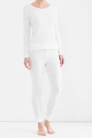 Printed cotton pyjama trousers, Cream White, hi-res