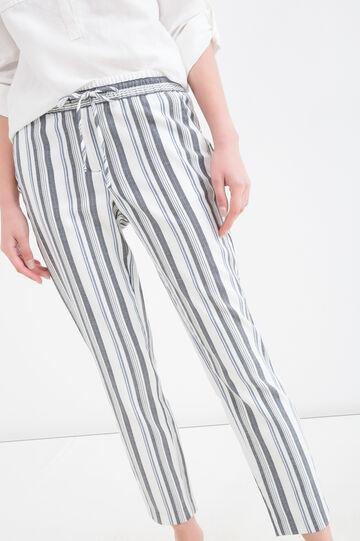 Striped stretch trousers, Black/Blue, hi-res