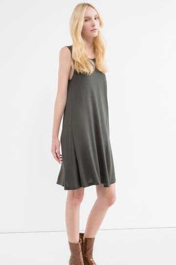 Short sleeveless dress with wide skirt, Forest Green, hi-res