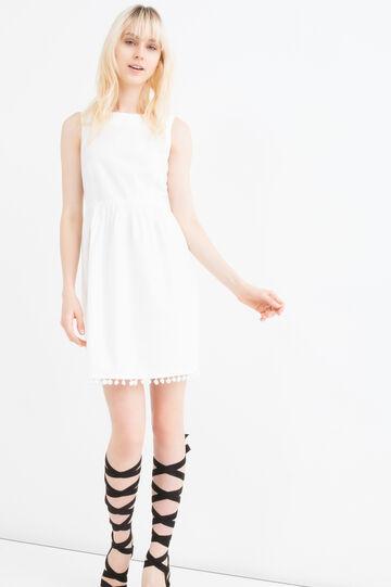 Sleeveless dress in 100% cotton., White, hi-res
