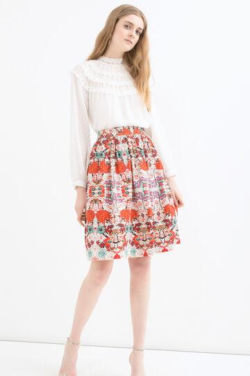 100% cotton patterned skirt, White, hi-res