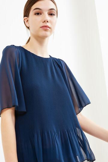 Blusa plissettata foderata, Blu, hi-res