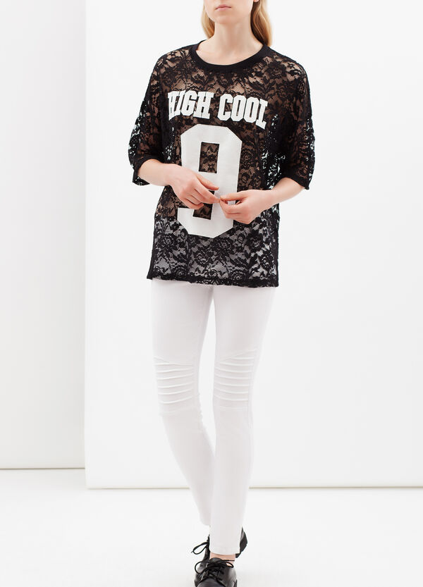 T-shirt semi trasparente con stampa | OVS