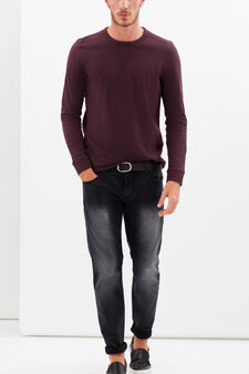 G&H solid colour long-sleeved T-shirt, Claret Red, hi-res