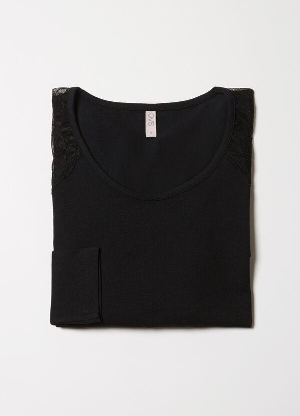Maglia pigiama stretch con pizzo | OVS