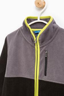 Solid colour sweatshirt with pockets, Black/Grey, hi-res