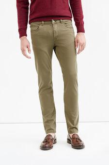 Slim fit, stretch cotton trousers, Beige, hi-res