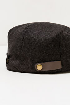 Solid colour flat cap with buttons, Grey, hi-res