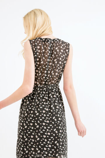 Floral dress with tie, Black, hi-res