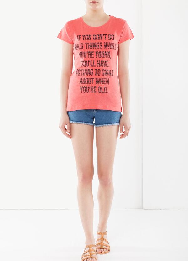T-shirt cotone con scritta | OVS
