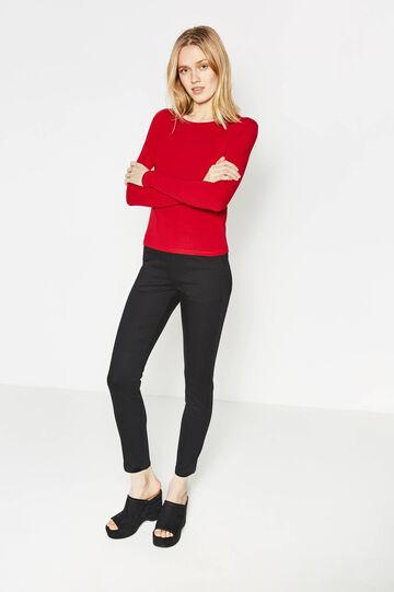 Stretch cotton trousers, Black, hi-res