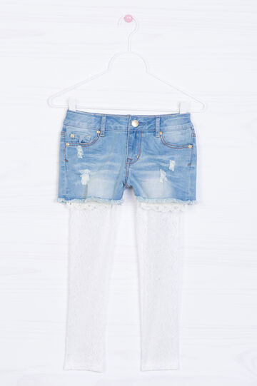 Frayed-effect stretch denim shorts., Denim, hi-res