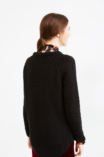 Knitted pullover with asymmetrical hemline, Black, hi-res