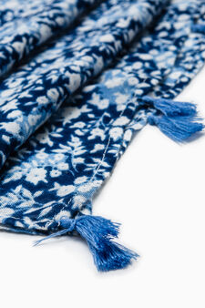 Patterned pashmina in 100% viscose, Blue, hi-res