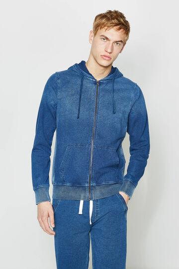 Soft cotton hoodie, Denim Blue, hi-res