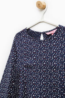 Viscose blouse with star pattern, Blue, hi-res