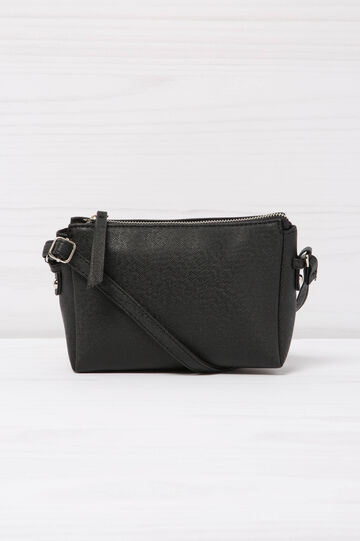 Solid colour, leather look shoulder bag, Black, hi-res