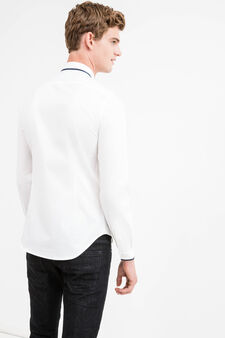 Custom-fit formal shirt with ribbing, White, hi-res