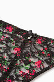 Lace tanga with floral pattern, Black, hi-res