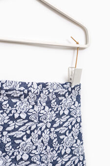 Floral patterned viscose trousers, Navy Blue, hi-res