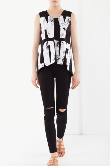 Asymmetrical top with writing, Black, hi-res