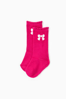 Two-pair pack long socks with bow motif, Blue/Pink, hi-res