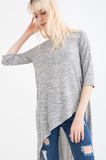 T-shirt lunga misto viscosa, Grigio melange, hi-res