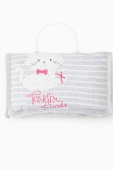 Striped and solid colour blanket with cat patch, White/Pink, hi-res