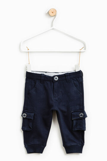 100% cotton trousers with ribbing, Navy Blue, hi-res